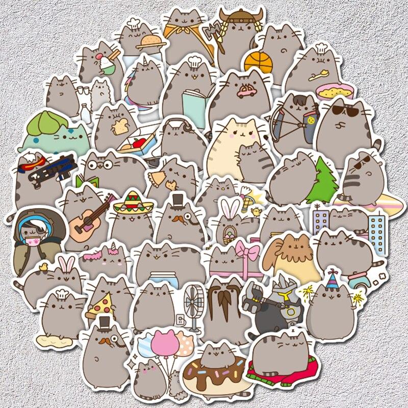 AQK 100 Pcs/lot Cartoon Cute Cat Stickers Toy PVC Graffiti Bomb Decals For Skateboard Luggage Notebook Laptop Guitar Fridge Car