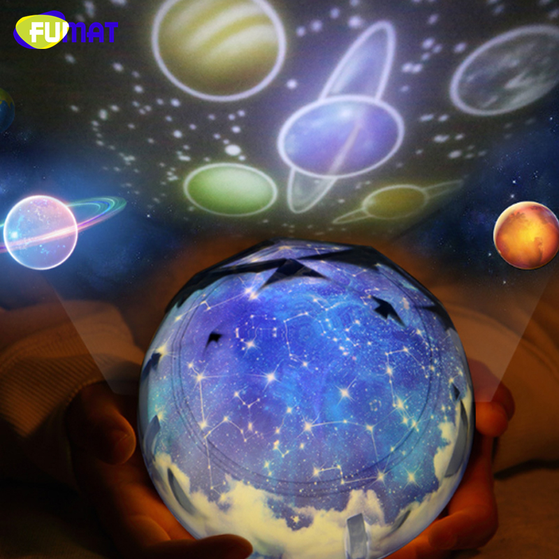 FUMAT Night Light Magic Projector Earth Universe led Lamp Colorful Rotary Flash Starry Sky Planet Projector Kid Baby Xmas Gift gift planet