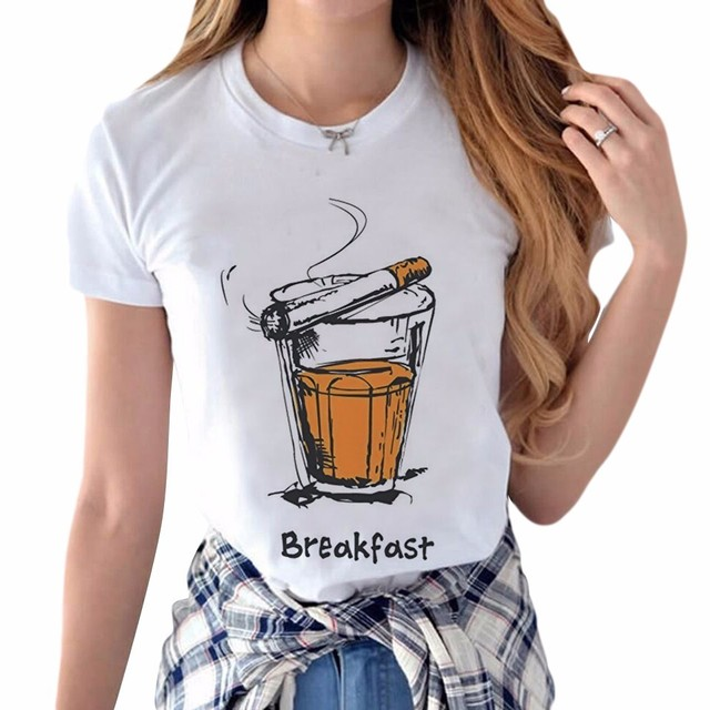 New Arrival T Shirt Women Cigarettes And Wine Design Ladies T-shirts Street  Style Breakfast T-Shirt Short Sleeve Tops Girl Tee e1bd57088383