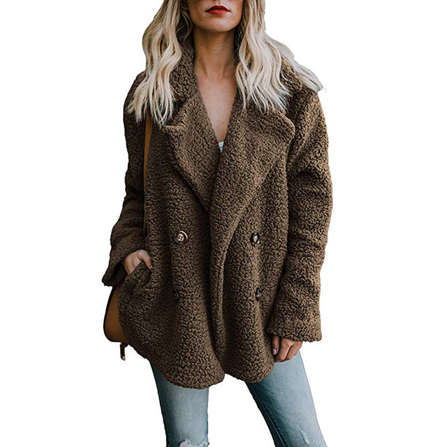 winterjas vrouwen faux bontjas vrouwen pocket knop teddy jas jas