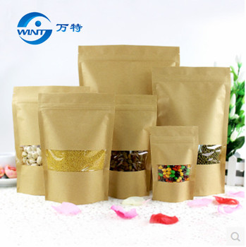 20cm*30cm,100pcs/lot,stand up Zipper/zip lock Kraft paper bag with window PE inside kraft bag for food free shipping