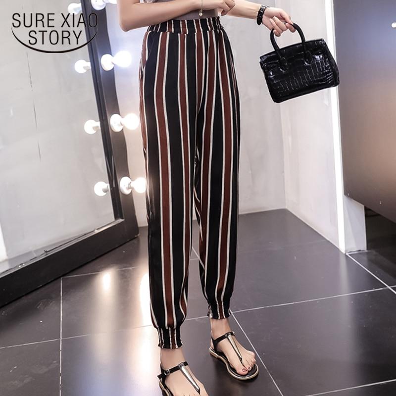 2018 summer new beach pants chiffon casual loose harem pants ankle length pants print elastic waist fashion women pants 0305 40