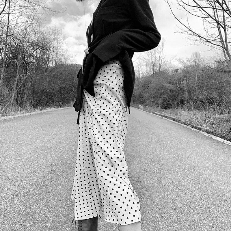 Dot druku spódnica trzy czwarte spowoduje marszczenie zebrane z tyłu na zamek błyskawiczny kobiety moda proste długie spódnice 2019 w Spódnice od Odzież damska na  Grupa 3