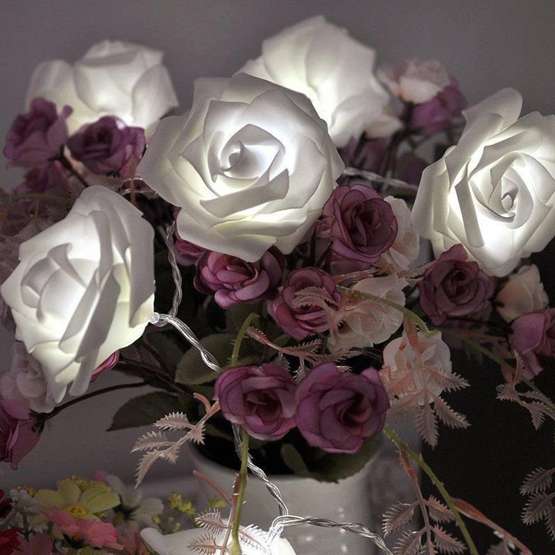 Fashion Holiday Lighting 20pcs/lot Novelty Rose Flower Fairy String Lights Wedding Garden Party Christmas Decoration