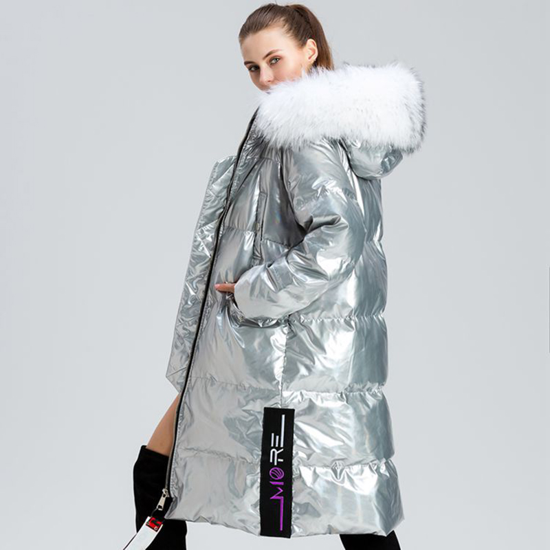 2019 Patent Leather Glossy Winter White Duck   Down   Jacket Women Natural Fur Collar Long Parka Warmth Womens   Down     Coats   Silver