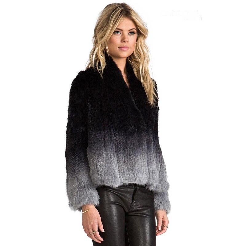 BFFUR Top Quality Genuine Knitted Rabbit Fur Coat Winter Women Fur Natural Outerwear Coat Jacket Short Gradual Colors BF-C0069
