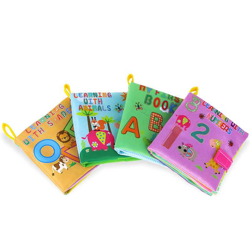 4 Pcs/ Set Baby Book Soft Infant Cloth Book Babe Learn Letters Numbers Animal Shape With Picture Kids Educational Toy Cloth Book
