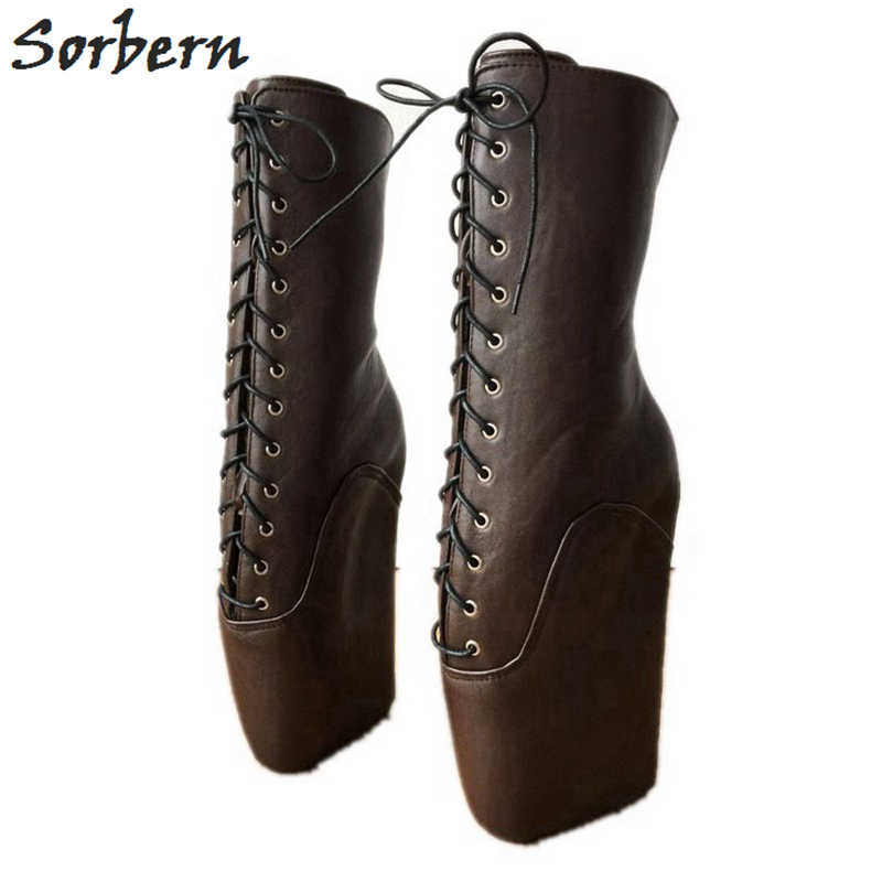 59509204615 Sorbern Chocolate Ankle Boots For Women Plus Size Platform Boots Punk  Vintage Womens Fashion Boots 2019