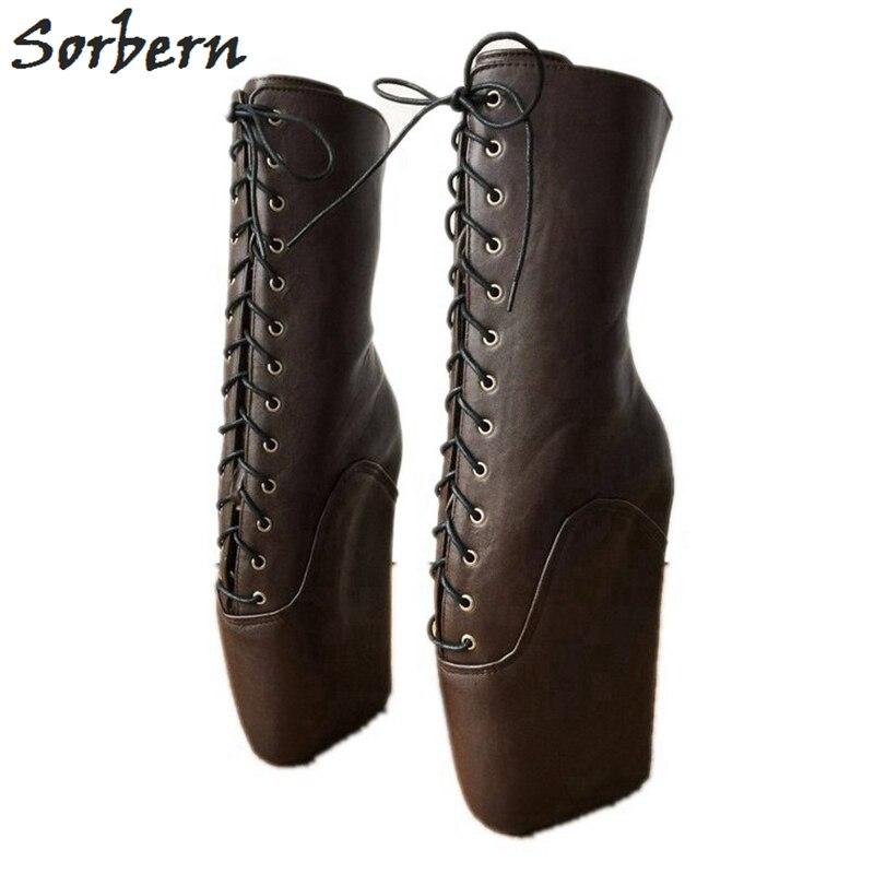 Sorbern шоколад ботильоны для женщин; большие размеры Ботинки на платформе в стиле Панк Винтаж женские модные сапоги Новинка 2019 г.