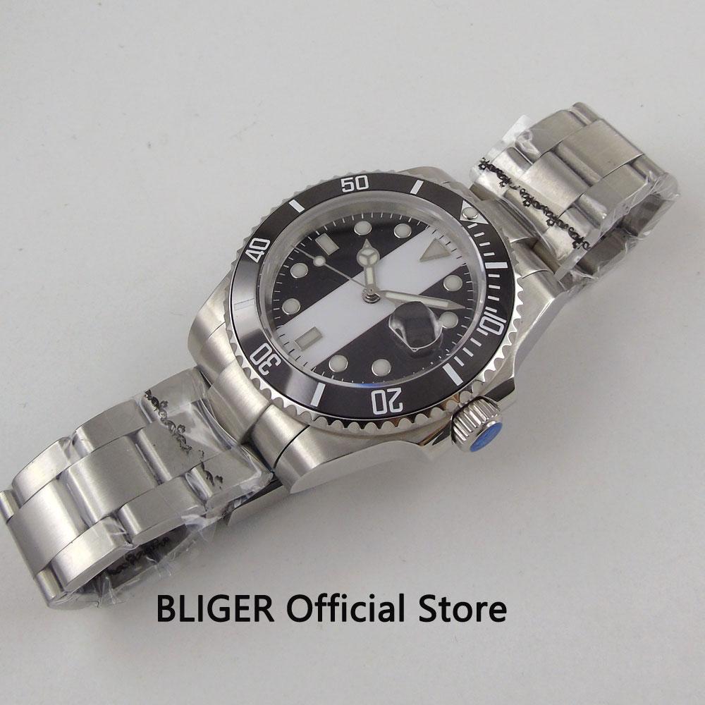 BLIGER 40 мм стерильный циферблат большие часы лицо черный керамический ободок светящиеся знаки сапфировое стекло Miyota автоматические Move Мужские t часы - 4