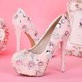 Sapatos de casamento pérola strass rosa mulher ultra high heels salto fino sapatos de plataforma noiva sapatos únicos sapatos princesa
