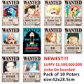 10 PCS/LOT ONE PIECE Wanted Posters Newest Anime Poster ONEPIECE Luffy Ace Jinbe Nami Chopper Robin Zoro Sanji Usopp Franky Toys