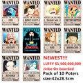 10 unids/lote una pieza carteles nuevo Anime Poster una pieza Luffy Ace Jinbe Nami helicóptero Robin Zoro Sanji Usopp Franky juguetes