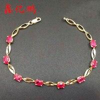 18 k or incrusté naturel ruby bracelet avec des femmes De Mode contracté et précieux trésor du jour de Valentine de mariage bijoux