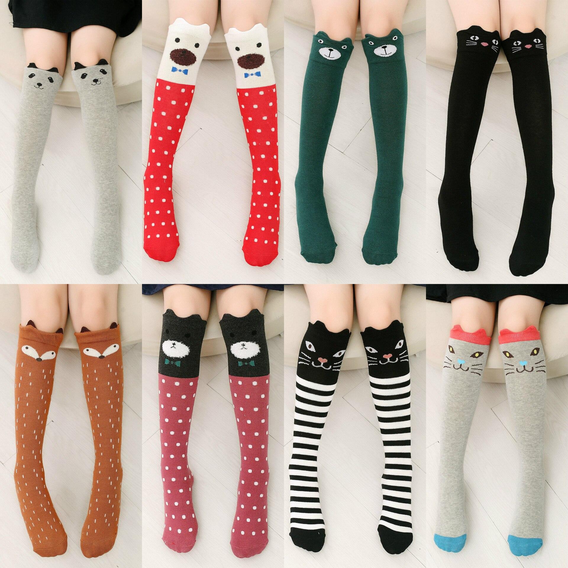6 Pairs Girls Knee High Socks Cute Cartoon Animal Boot Socks Cotton Socks