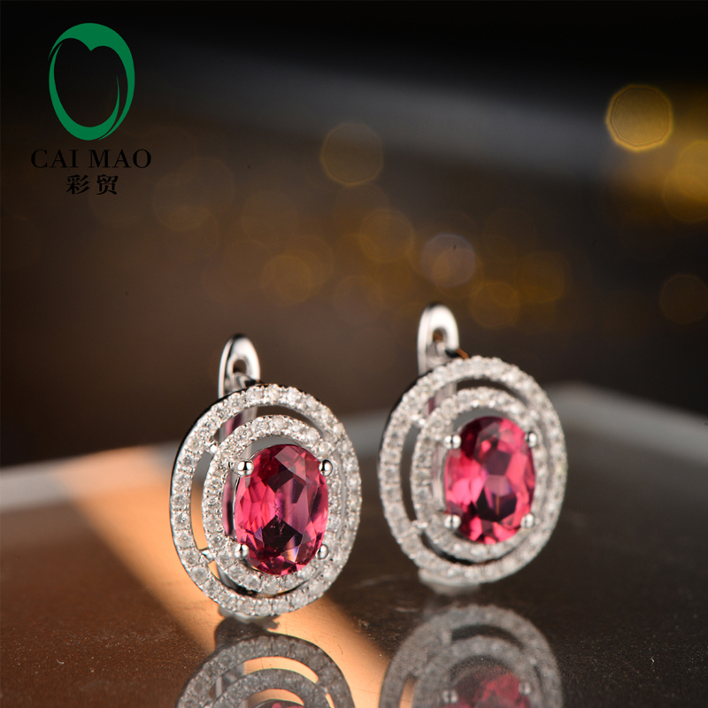 Caimao Jewelry 14KT White Gold 5x7mm Oval Cut Good Pink Tourmaline Diamond Engagement Earrings free shipping caimao exquisite jewelry natural cabochon cut emerald baguette cut diamond 14kt white gold drop earrings