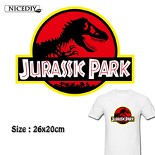 Nicediy Dinosaur Jurassic Park Heat Transfers On Patches For Clothing T-shirt Thermal Transfer Stickers Applique Washable Decor