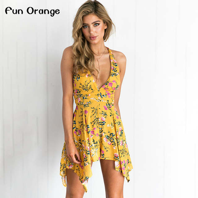 b1358e31d1 Fun Orange Deep V Floral Print Coveralls Backless Zipper Women Jumpsuit  Romper Bodysuit Summer Beach Overalls
