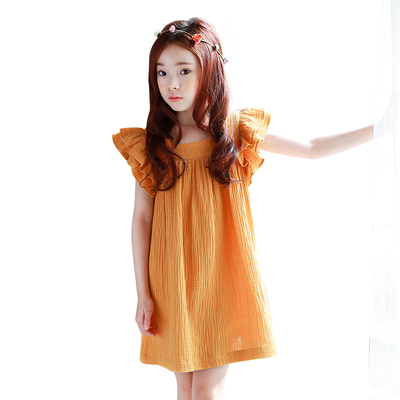 4 - 14 yrs baby girl summer china style simple loose yellow dress elegant birthday party teenage girl dresses new beach clothes girl