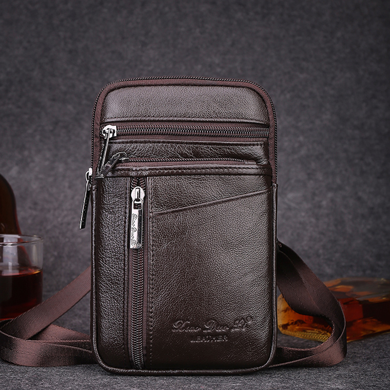 new style genuine leather mens bag 6.5 inch Small shoulder bag Messenger ba mobile phone ...