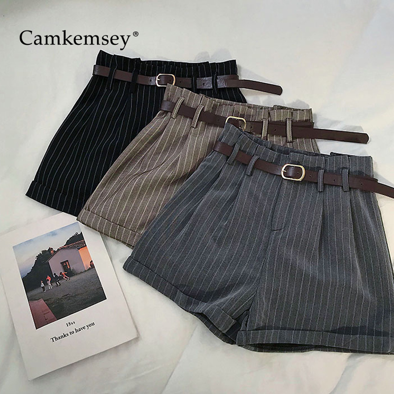 CamKemsey Summer   Shorts   Women 2019 Korean Fashion Stripe Classic Hemming Cuffed High Waist Wide Leg   Shorts   With Sashes