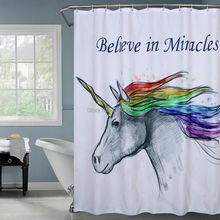 Happy Tree Polyester Unicorn Believe in Miracles Shower Curtains Thicken Fabric Bathroom Curtain Waterproof Bath Curtain. waterproof happy halloween ghost bath curtain