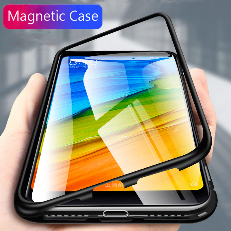 Magnetic Case For xiaomi redmi note 5 6 Pro Tempered Glass Magnet Adsorption Case for xiaomi mi 8 mi8 lite a2 pocophone f1 cover image
