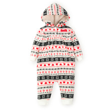 Marque 2016 Bébé Barboteuses Imprimer Bébé Filles Garçons Vêtements Polaire Polaire Chaud Infantile Capuche Combinaisons Combinaison pour L'automne