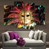 4 Kolor Maska Twarzy Poste panelset z Dancer Home Decor Streszczenie Płótnie Malarstwo Naklejki Ścienne dla Pokoju Gościnnego Prezenty Hurtownie