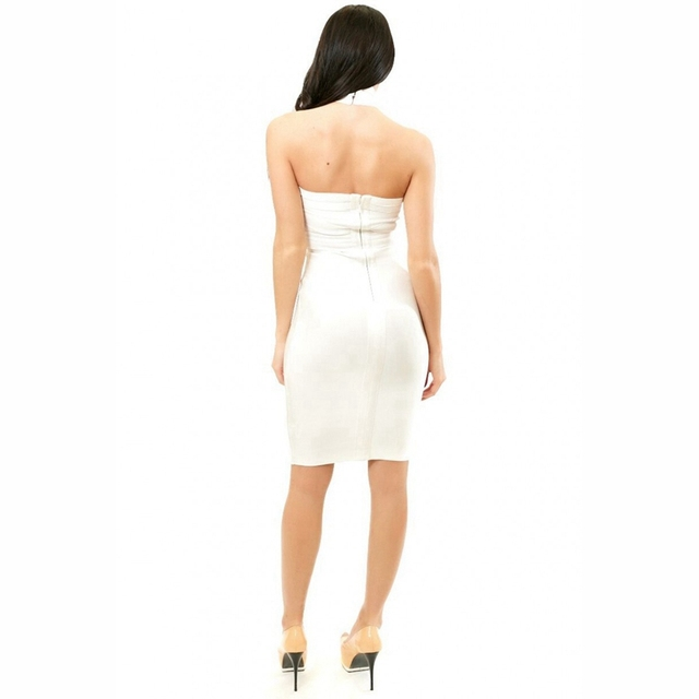 BANDAGE White Halter Women Bandage Dress Sexy Backless Bandage Boutiques Off Shoulder Bodycon Vestidos Evening Party Club Dress