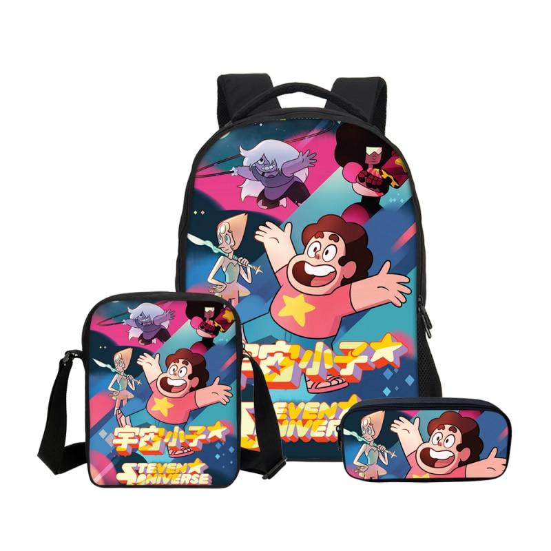 VEEVANV Cartoon Anime Steven Universe Prints Backpacks Pencil Bag 3Pcs/Set Portfolio School Bag For Boys Girls Bookbag Children veevanv hot cartoon anime roblox backpacks school bag for teenage boys children kids bagpack mochila men bookbag casual laptop