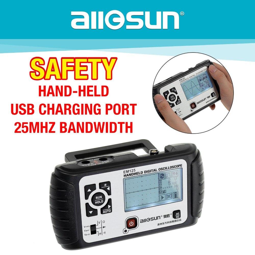 all-sun 2 in1 Multimeter Oscilloscope 25MHz Digital Handheld Scopemeter Voltmeter Ohmmeter Capacitance EM125 цена