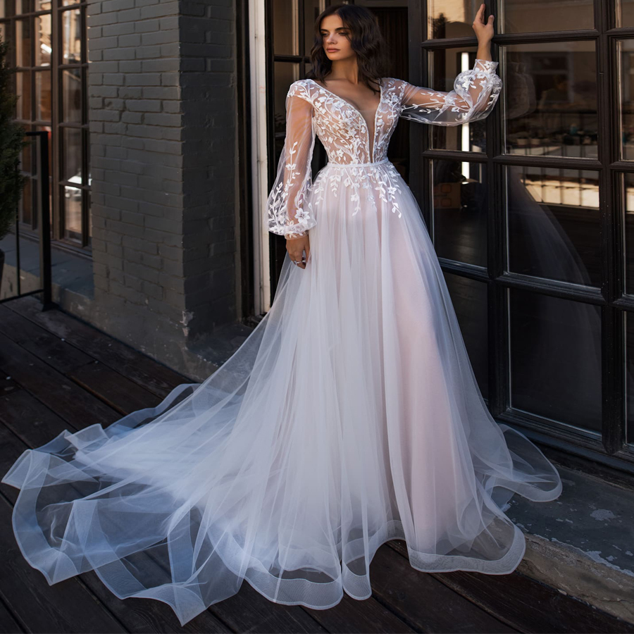 LORIE Boho Wedding Dress Puff Long Sleeves A-Line Appliques Floor Length Bride Dress Custom Made Princess Wedding Gown