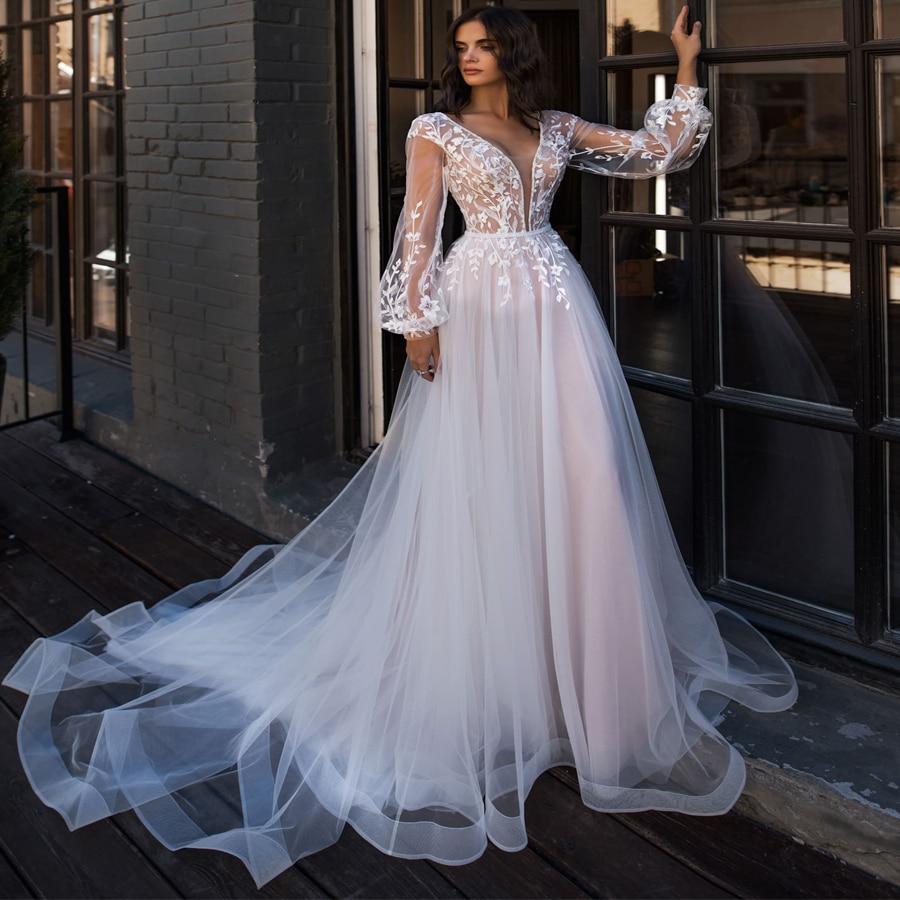 LORIE Boho Wedding Dress Puff Long Sleeves A-Line Appliques Floor Length Bride Dress Custom Made Princess Wedding Gown