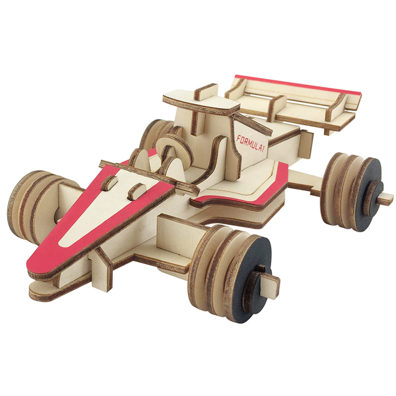 New Assembly DIY Education Toy 3D Wooden Model Puzzles Of Formula Racing Car Home Collection Decoration