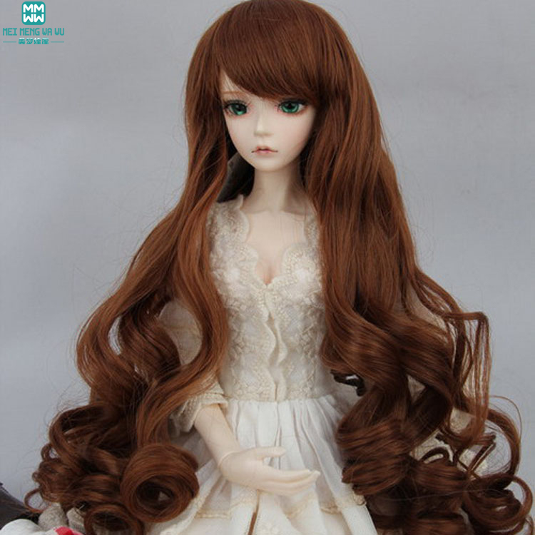 fits 1/3 1/4 1/6 BJD SD Doll Wigs 1/3 1/4 1/6 Optional 4 color Long Curly Wave Roll hair 025
