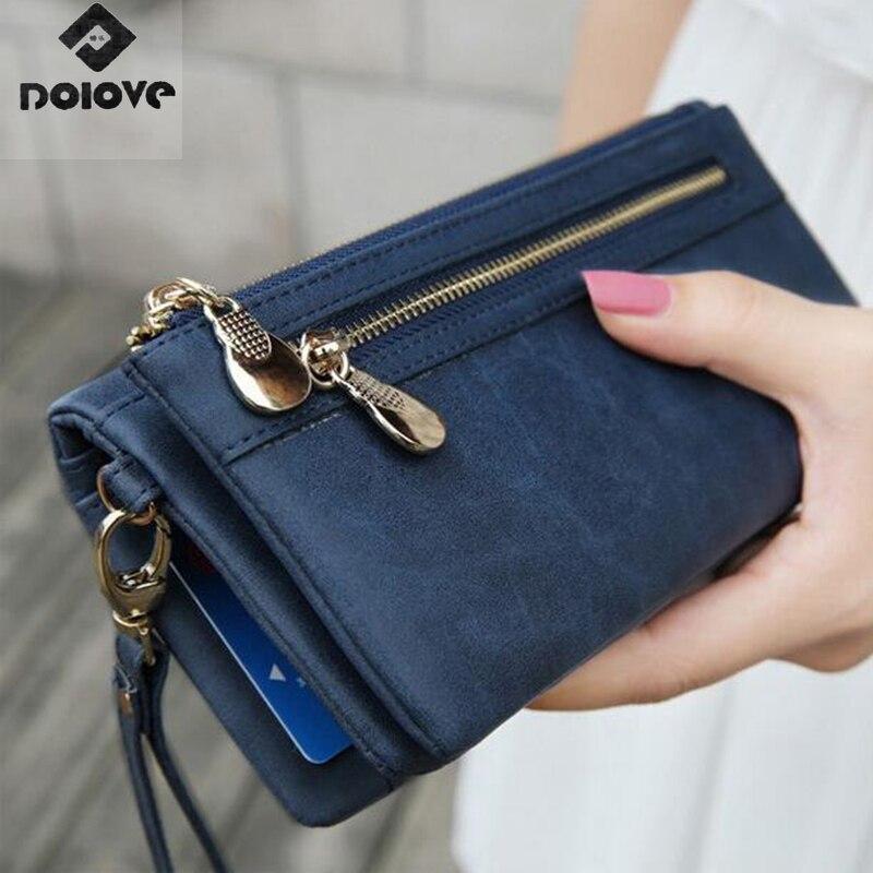 Mode femmes portefeuilles mat polonais en cuir Portefeuille Double fermeture éclair jour pochette sac à main bracelet Portefeuille sacs à main Carteira Feminina