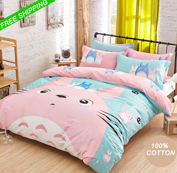 cotton pink totoro bed sets comforter sets light blue duvet covers bedspreads queen full twin. Black Bedroom Furniture Sets. Home Design Ideas