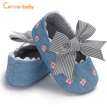 New Summer Autumn Baby Girl First Walker Newborn Fresh Embroidered Bow Princess Shoes Cotton 2018