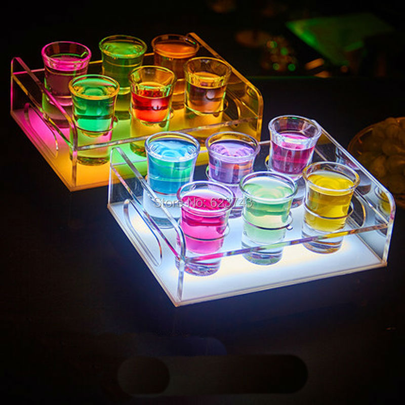 Free Ship 6/12-Bottle Shot Glass Tray Bullet Cup Holder colorful LED rechargeable light up Wine cups rack bars ice buckets