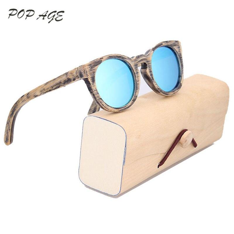 Dětské sluneční brýle Polarizované kulaté rámové brýle pro chlapce Dívky Značka Návrhář Brýle Dřevěné sluneční brýle Děti Levné Velkoobchod