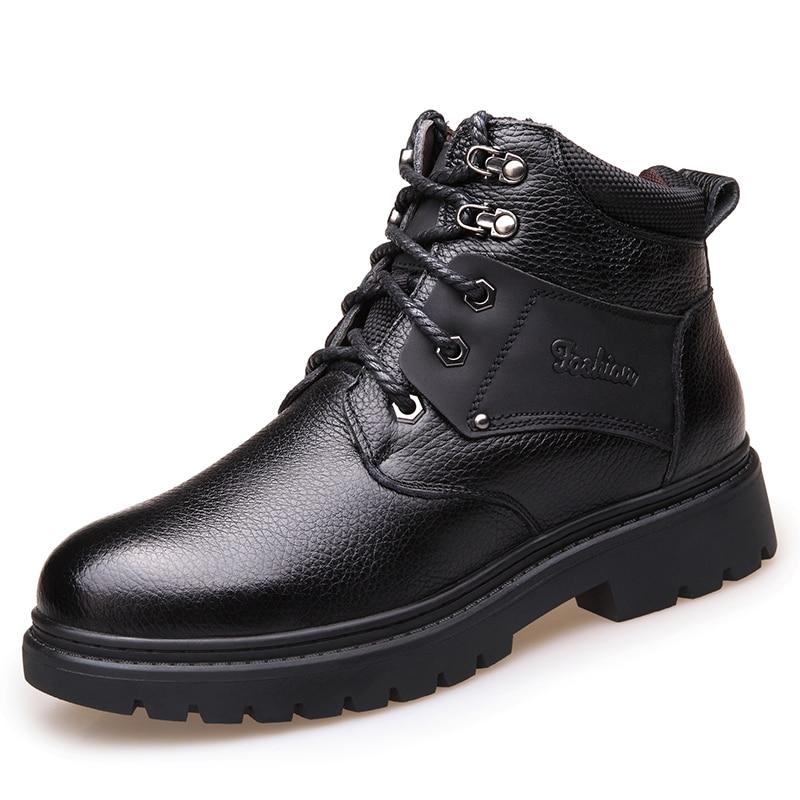 2019 zima mężczyzna buty z prawdziwej skóry wysokiej jakości miękkie głowy skórzane buty śniegowce prawdziwe wełny wewnętrzna buty 38 44 człowiek śnieg buty w Buty śnieżne od Buty na  Grupa 1