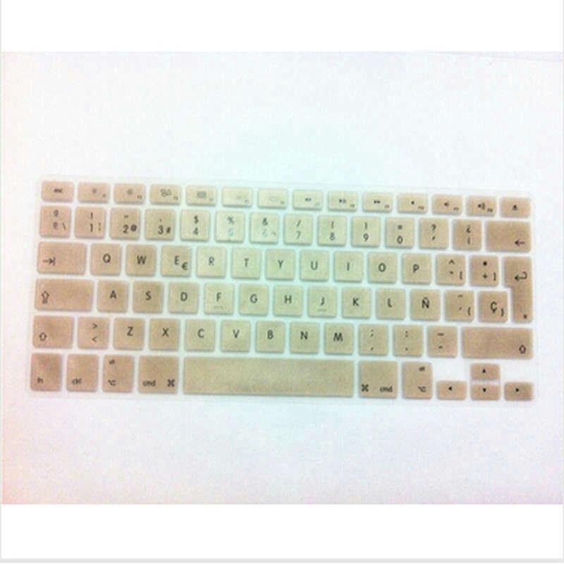 (10 Stücke) Metallic Gold Spanisch Eu Silikon-tastatur-abdeckung Haut Aufkleber Schutzfolie Für Macbook Pro Air 13 15 17 Mit Retina Display