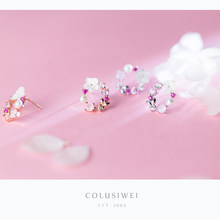 Colusiwei Shell Pearl Flower Stud Earrings for Women Elegant Natural Opals Floral 925 Sterling Silver Korean Fashion Jewelry(China)
