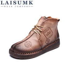 2019 LAISUMK HOT SALE Women Retro Boots Handmade Ankle Boots Flat Boots Real Genuine Leather Shoes Women Shoes Plus Size 43