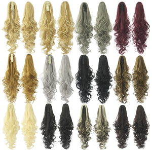 Soowee Black Gray Wavy Synthetic Hair Pony Tail Claw Ponytail Clip In Hair Extensions Hairpiece Hair Accessories for Women(China)