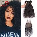 Gossip girl 7a pelo virginal brasileño con cierre kinky curly hair bundles con encierros del cordón pelo rizado brasileño con cierre