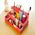 2016 nueva maletines llegada tablero de papel bricolaje caja de almacenamiento de escritorio decoración papelería maquillaje cosmético del organizador