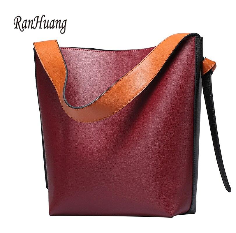 RanHuang Nuevo 2018 bolsos de lujo para mujer bolsos de cuero genuino de alta calidad grandes bolsos de mano de moda bolsos de hombro rojo-in Bolsos de hombro from Maletas y bolsas    1