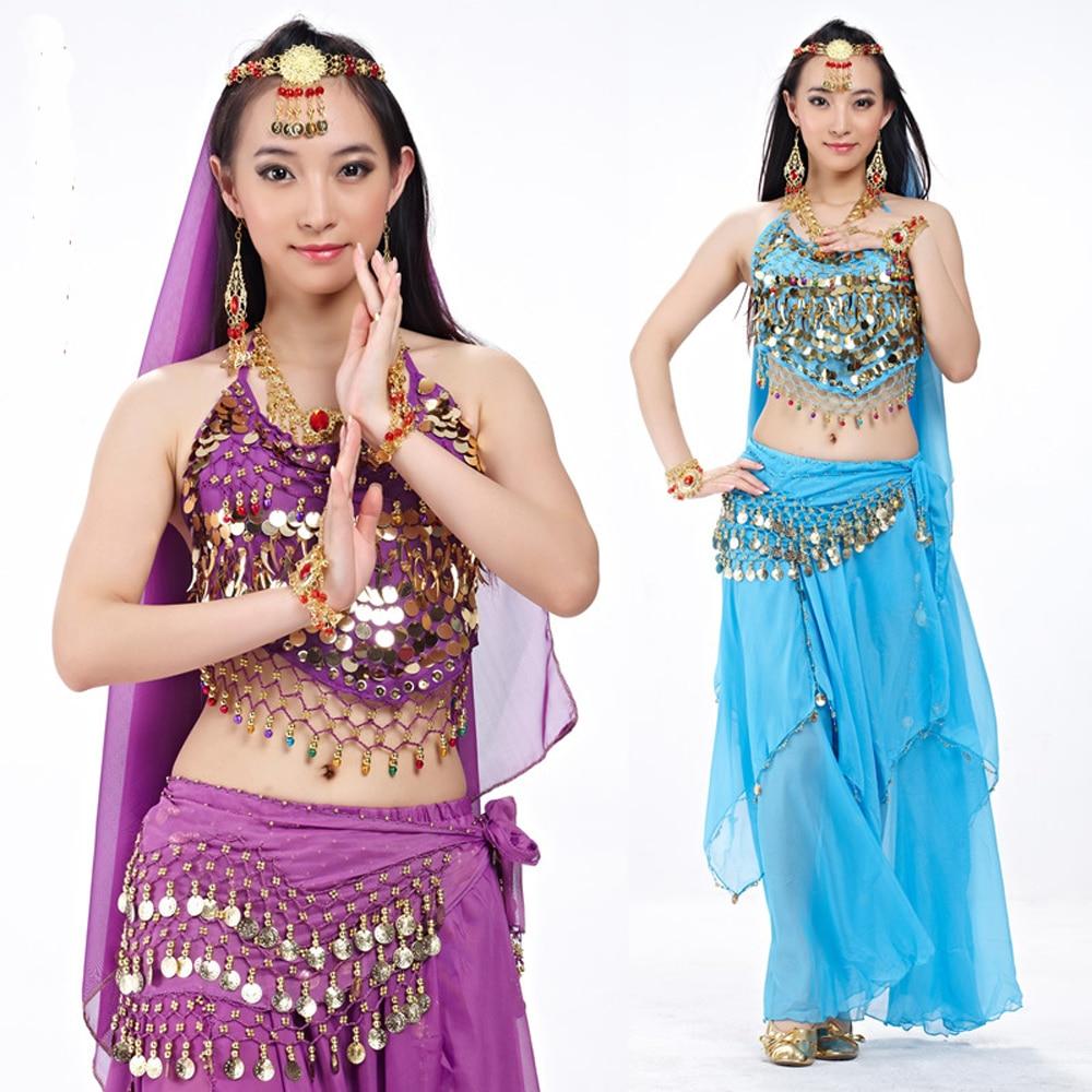 Женский костюм для танца живота, индийский топ + юбка, хит продаж